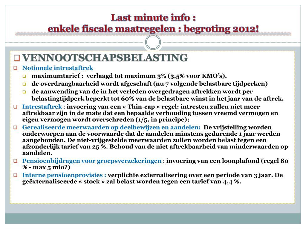 Last minute info :