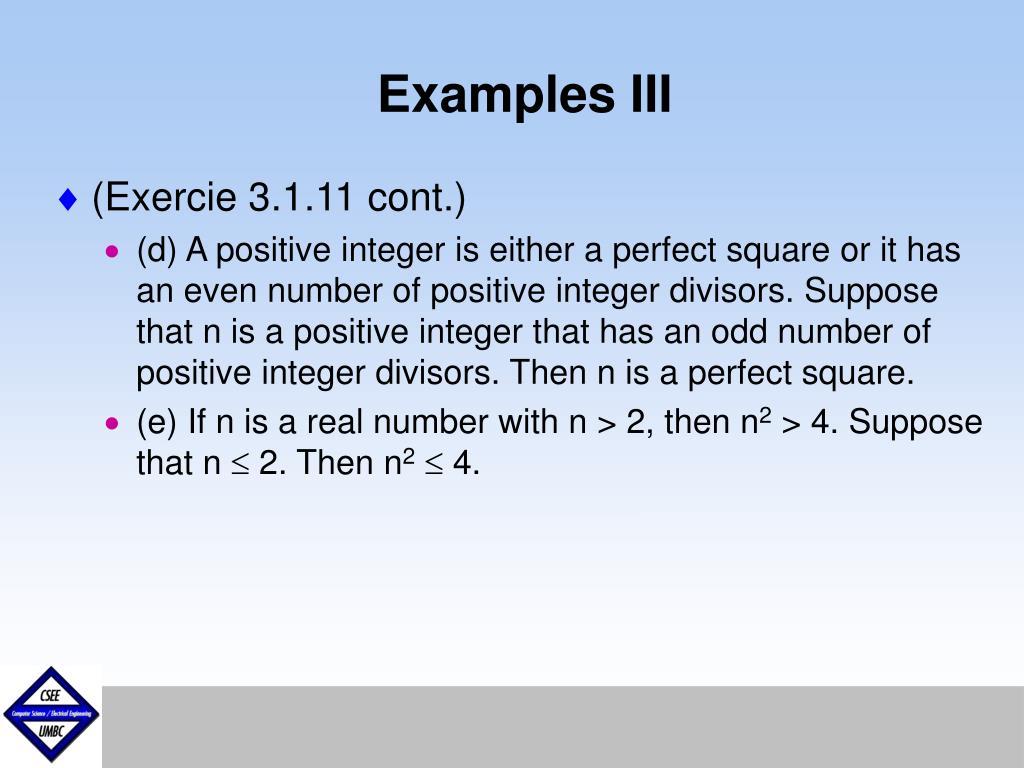 Examples III
