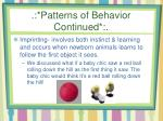 patterns of behavior continued1