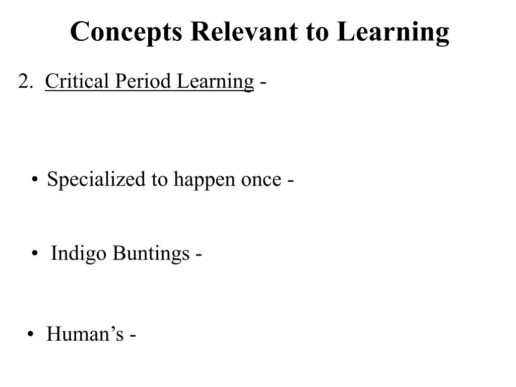 Concepts Relevant to Learning