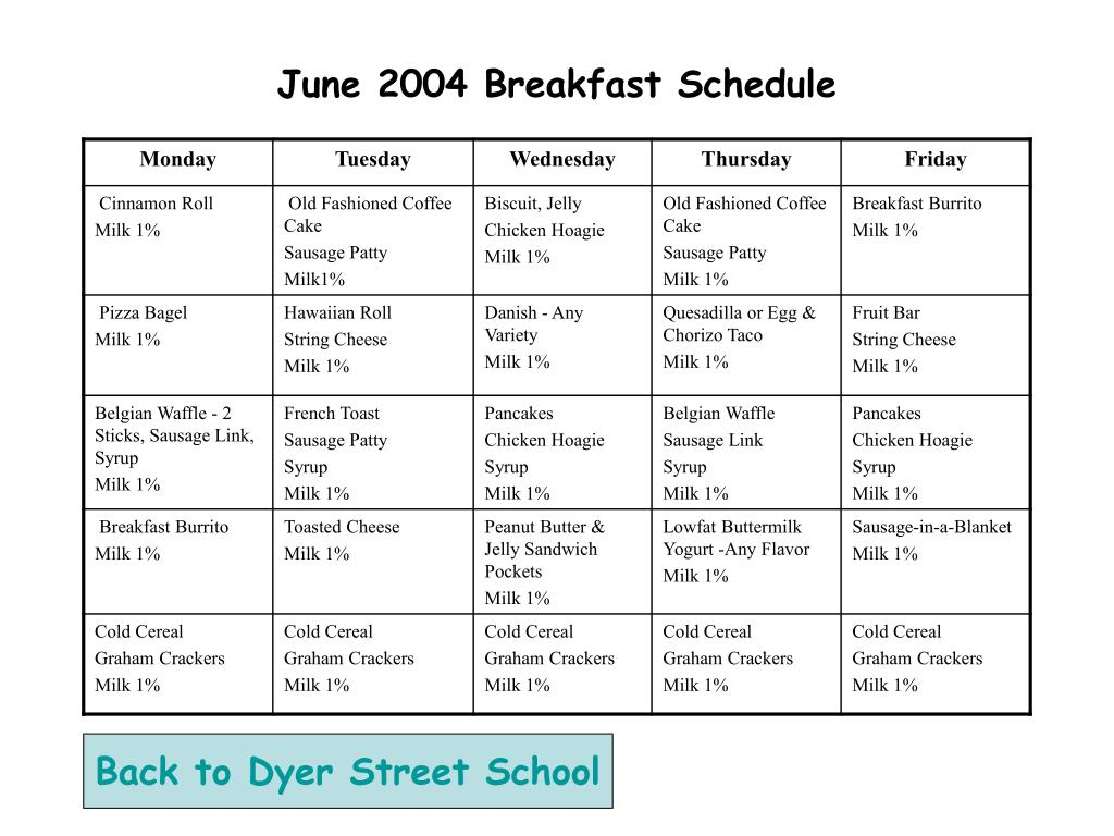 June 2004 Breakfast Schedule