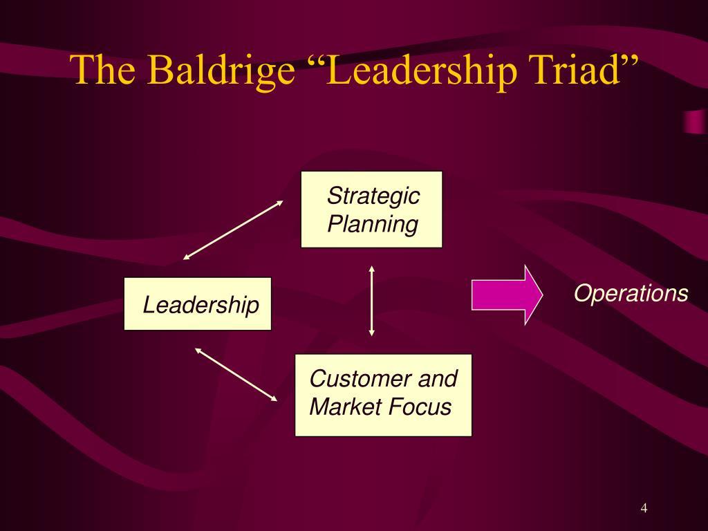 "The Baldrige ""Leadership Triad"""