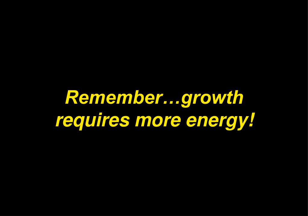 Remember…growth requires more energy!