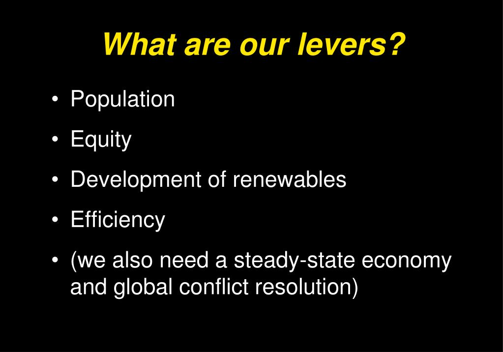 What are our levers?