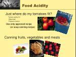 food acidity