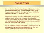 moniker types