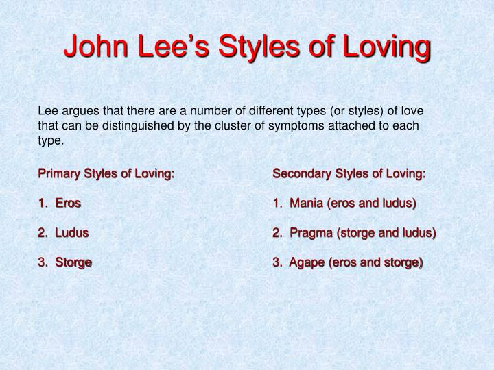 John Lee's Styles of Loving
