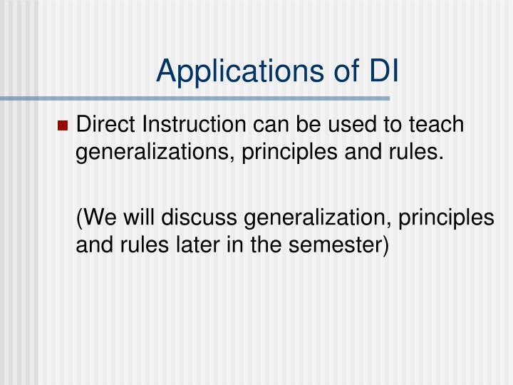 Applications of DI