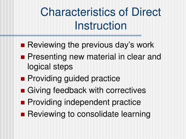 Characteristics of Direct Instruction