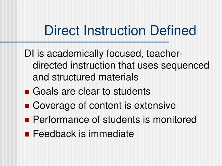 Direct Instruction Defined