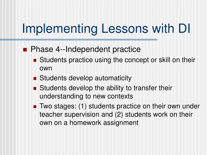 Implementing Lessons with DI