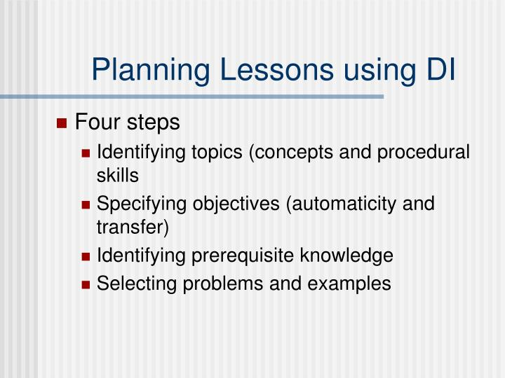 Planning Lessons using DI
