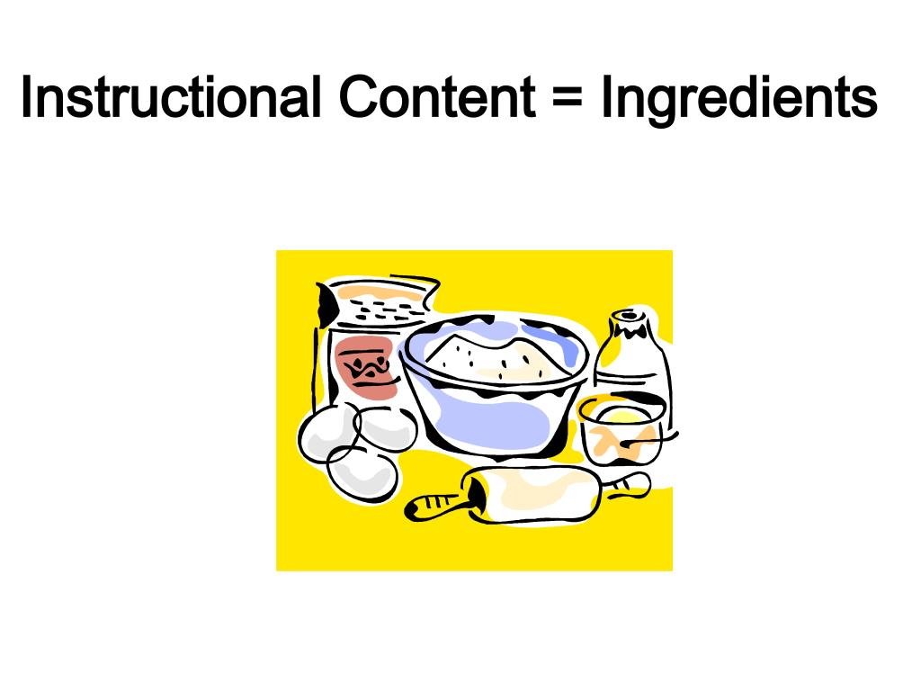 Instructional Content = Ingredients