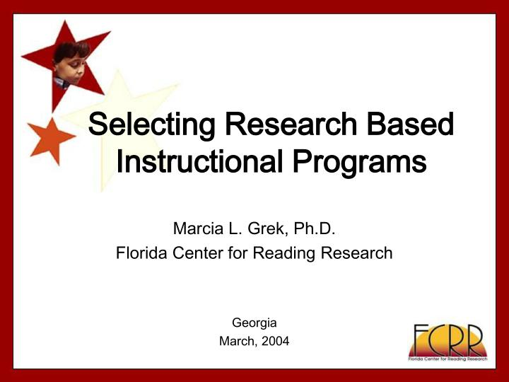 Selecting research based instructional programs l.jpg