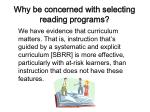 why be concerned with selecting reading programs