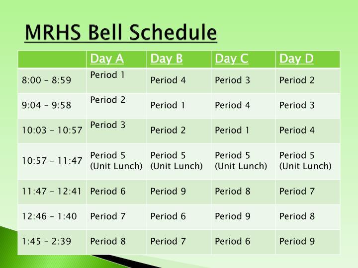 MRHS Bell Schedule