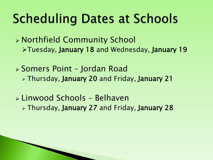 Scheduling Dates at Schools