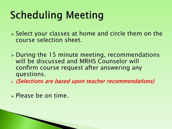 Scheduling Meeting