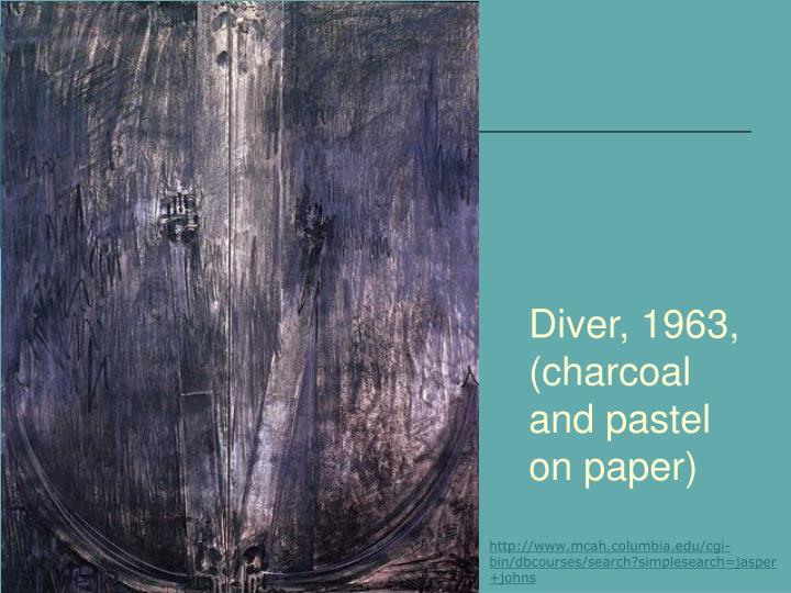 Diver, 1963, (charcoal and pastel on paper)