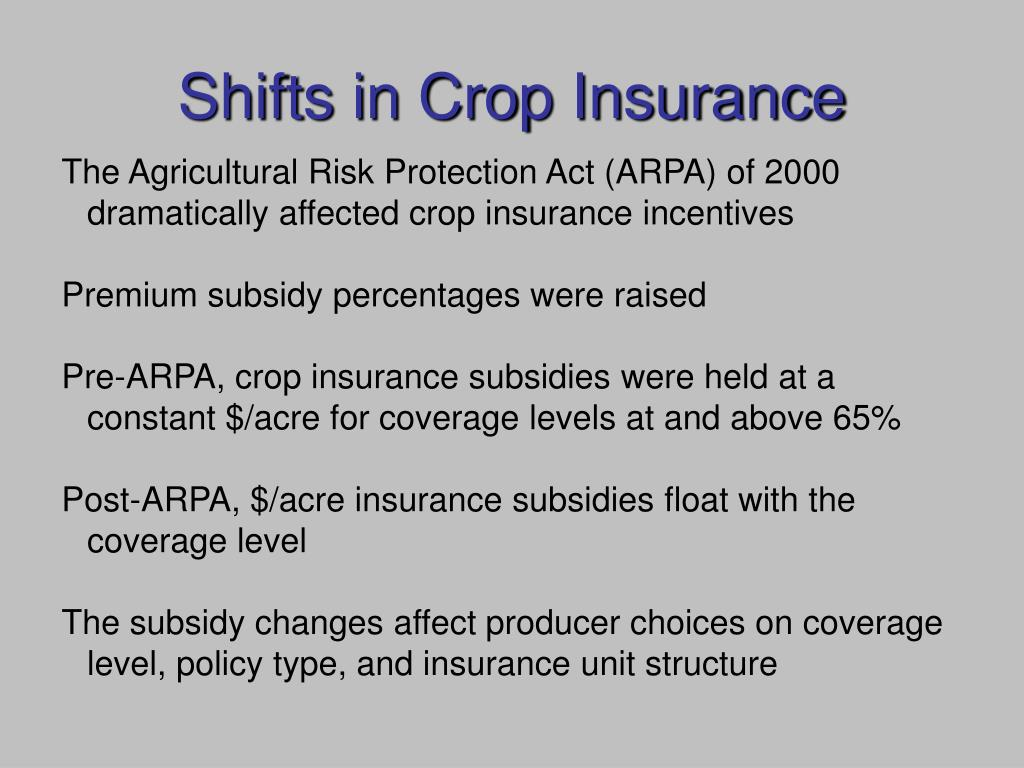 Shifts in Crop Insurance