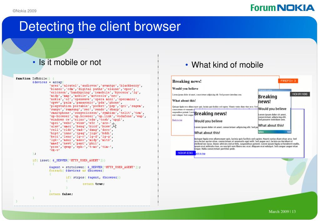 Detecting the client browser