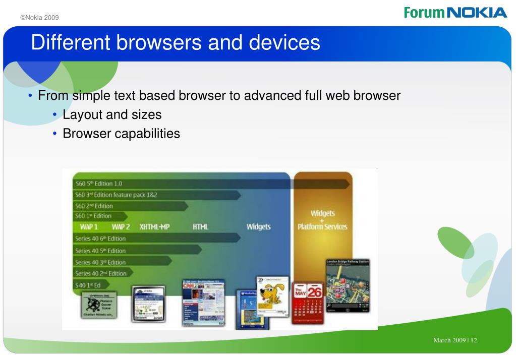 Different browsers and devices