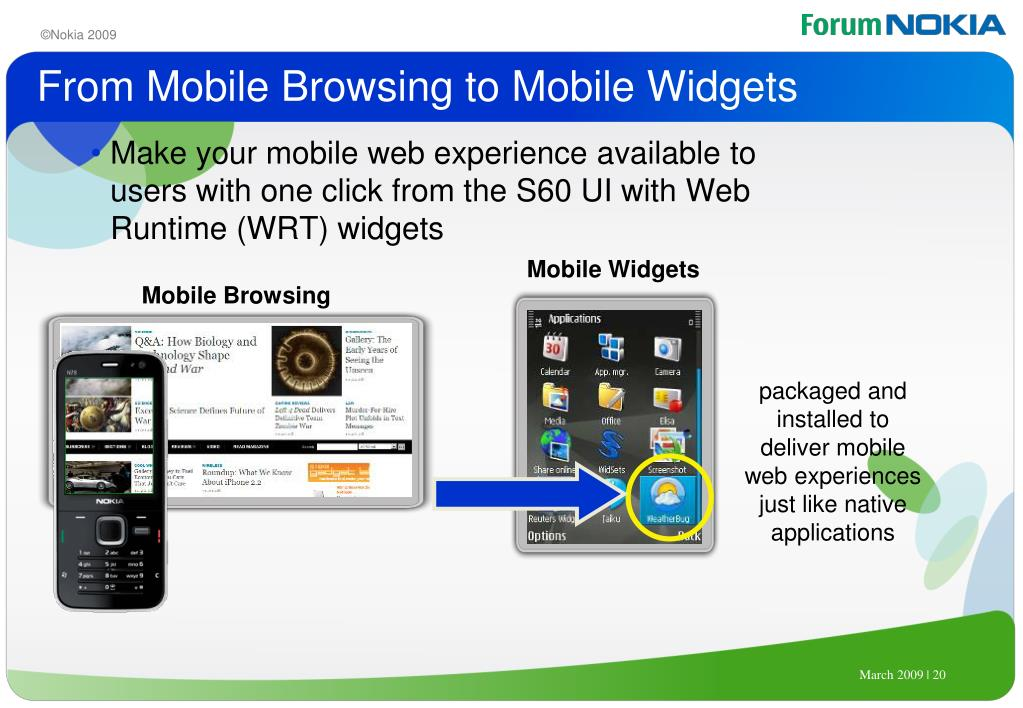 From Mobile Browsing to Mobile Widgets