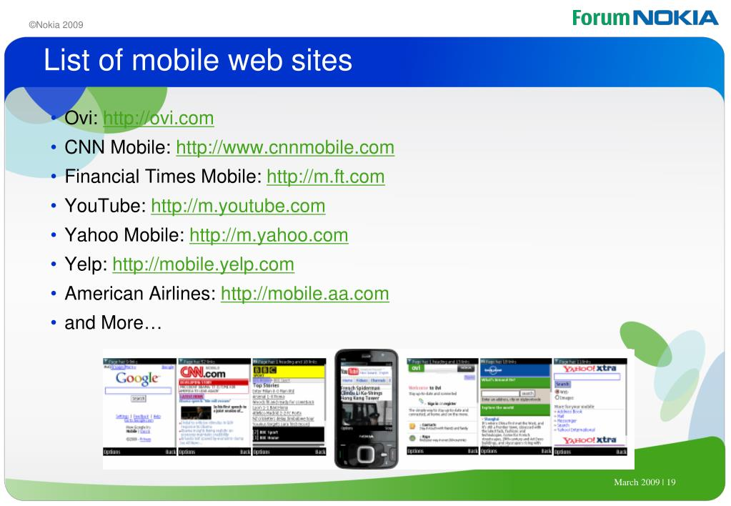 List of mobile web sites