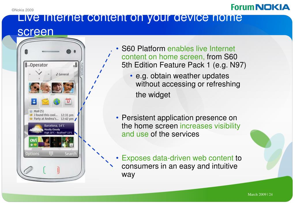 Live Internet content on your device home screen
