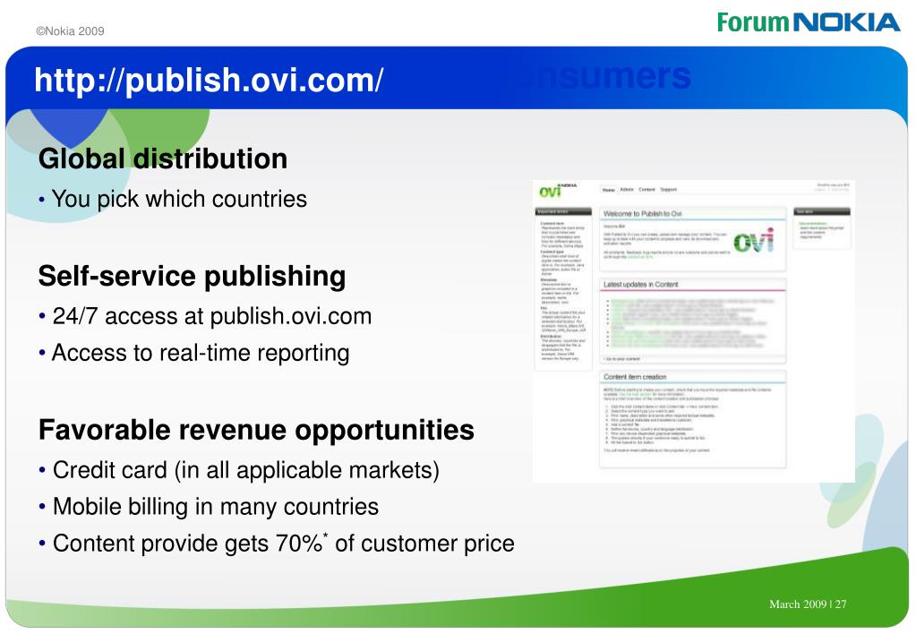 Publish to Ovi to Reach Consumers