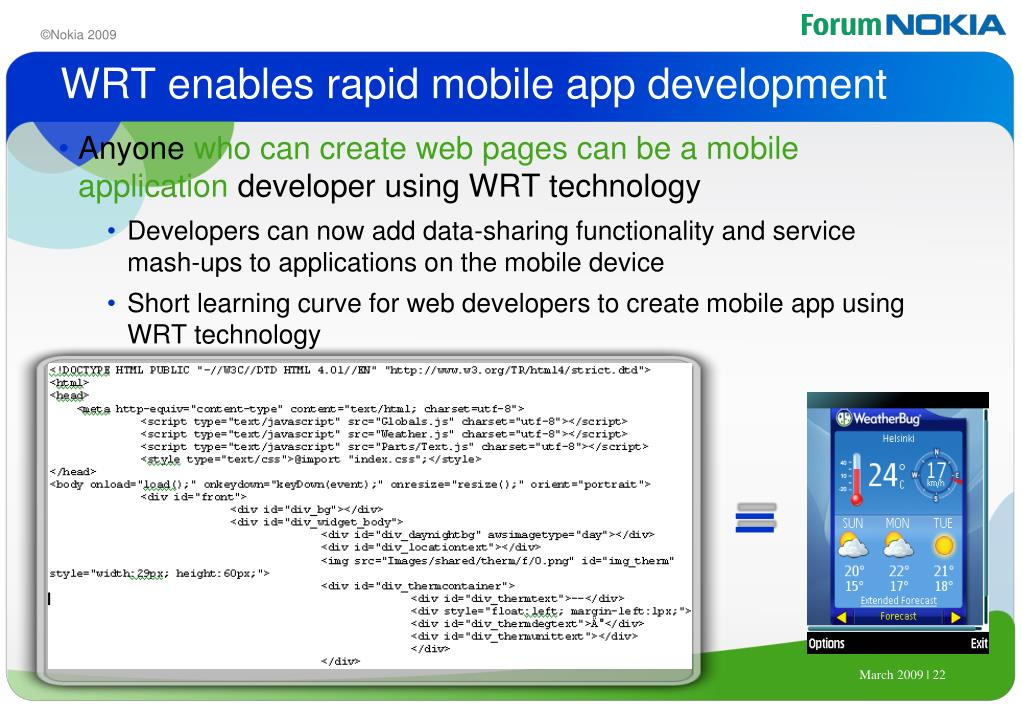 WRT enables rapid mobile app development