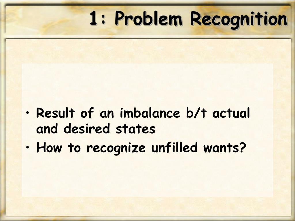 1: Problem Recognition