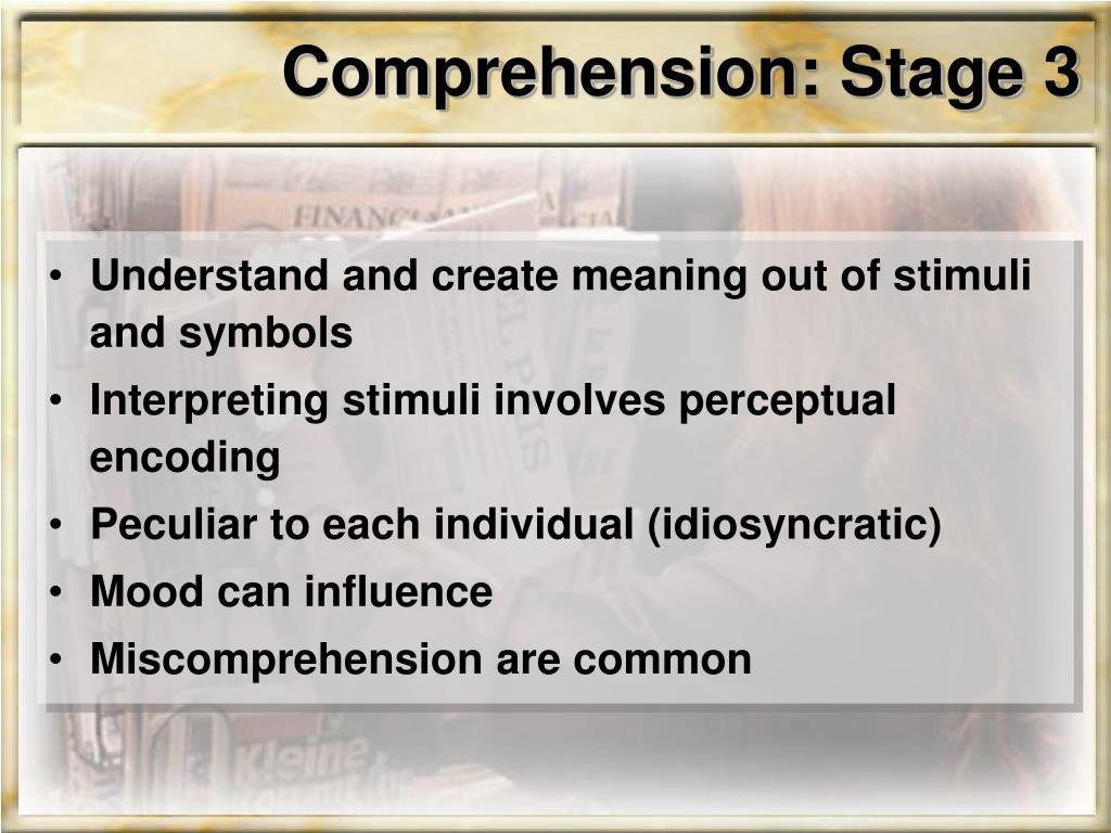 Comprehension: Stage 3