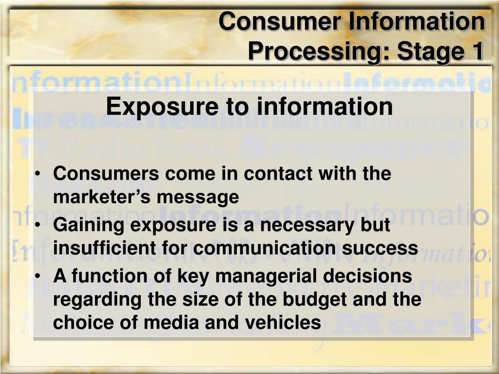 Consumer Information Processing: Stage 1