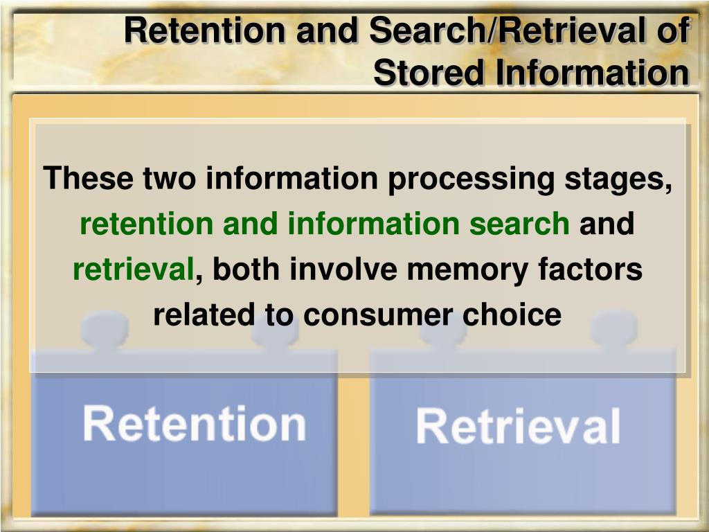 Retention and Search/Retrieval of Stored Information