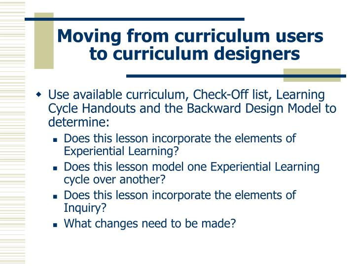 Moving from curriculum users to curriculum designers
