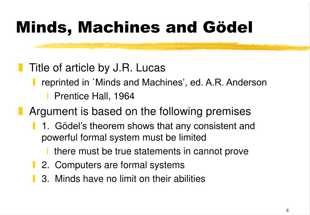 Minds, Machines and Gödel