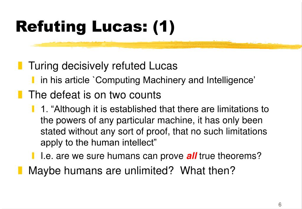 Refuting Lucas: (1)