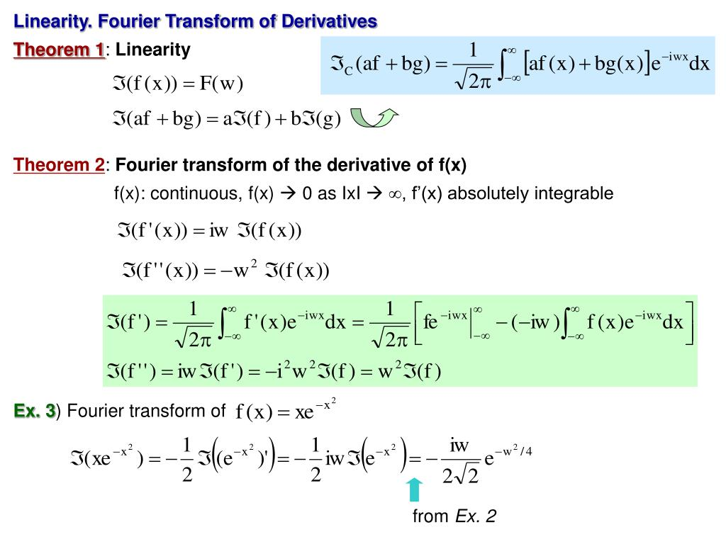 Linearity. Fourier Transform of Derivatives
