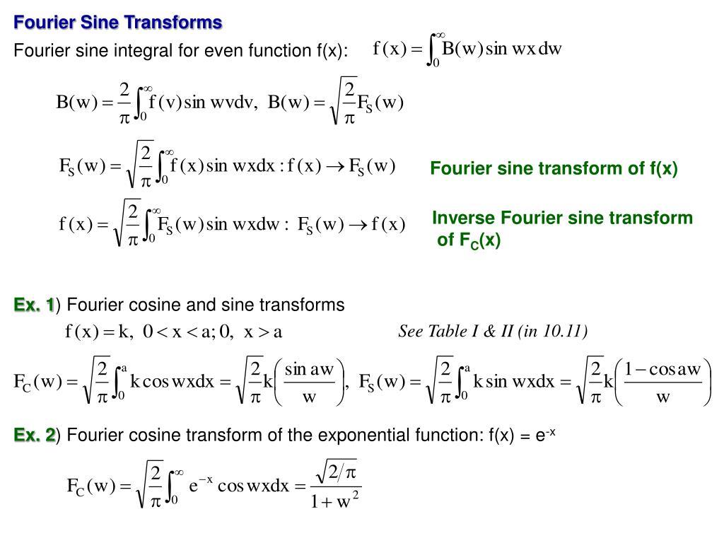 Fourier Sine Transforms