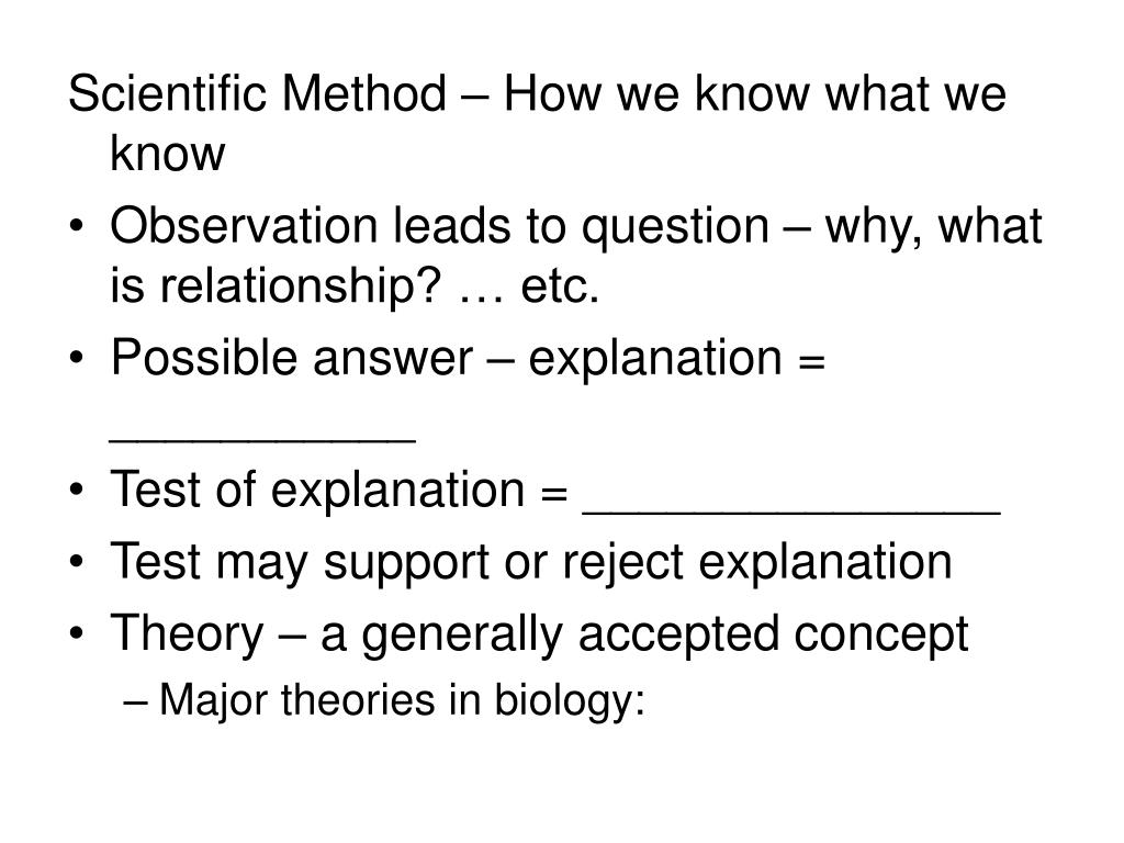 Scientific Method – How we know what we know
