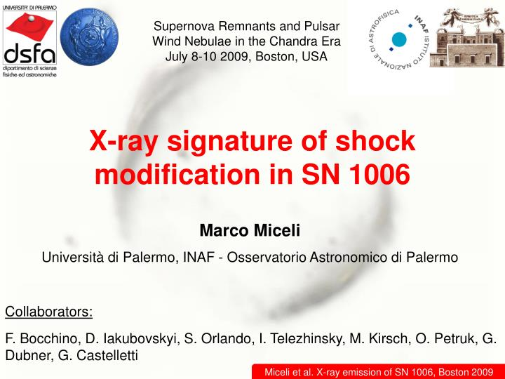 X ray signature of shock modification in sn 1006