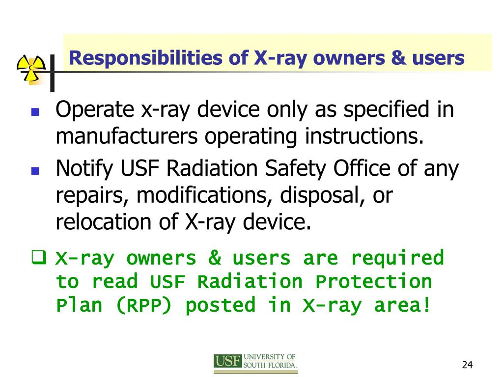Responsibilities of X-ray owners & users