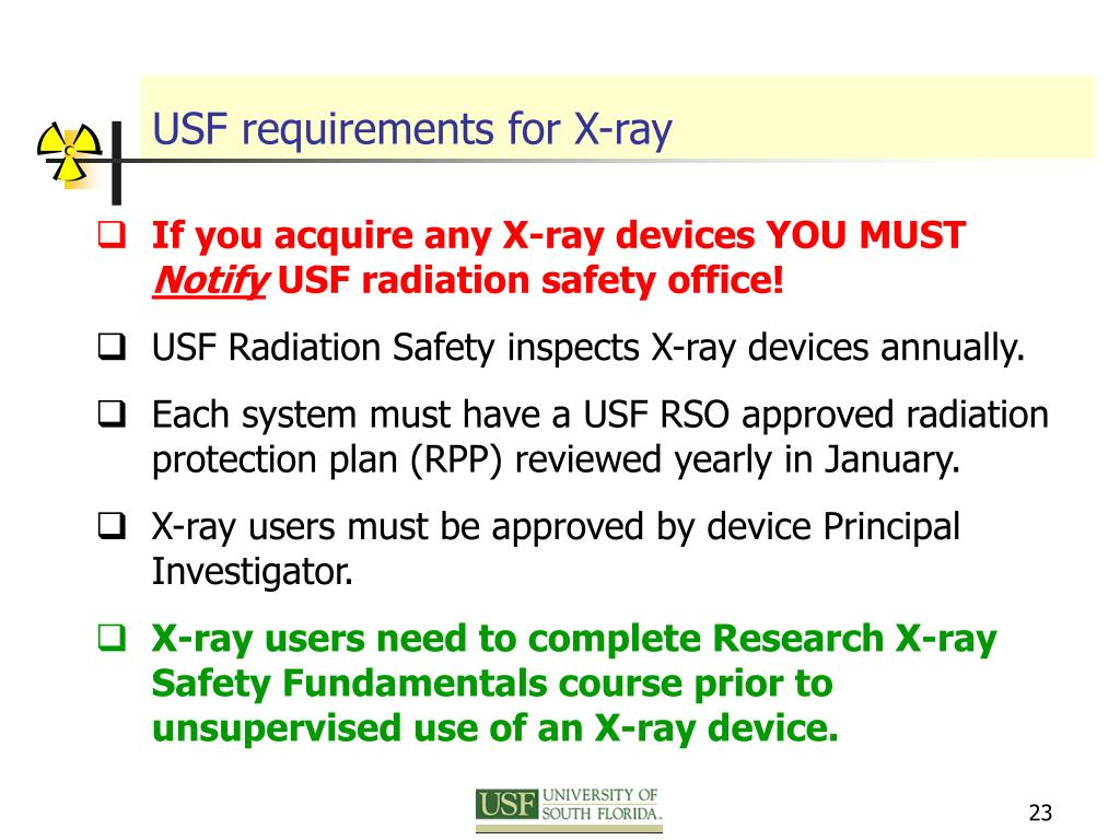 USF requirements for X-ray