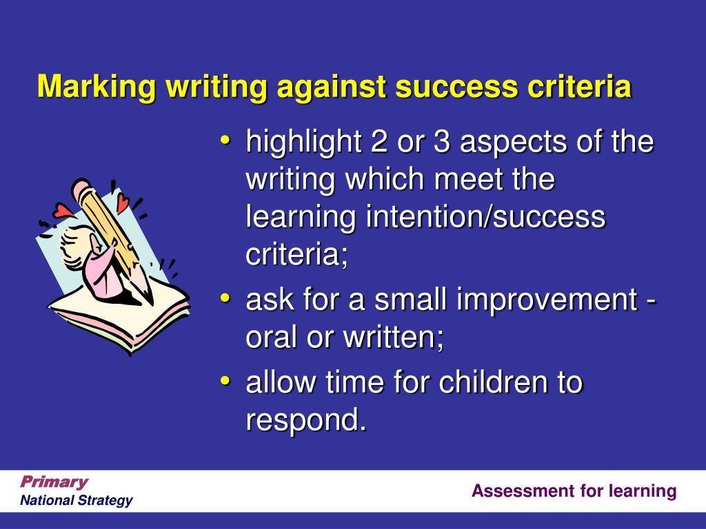 Marking writing against success criteria