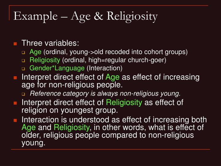 Example – Age & Religiosity