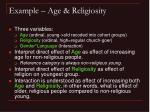 example age religiosity