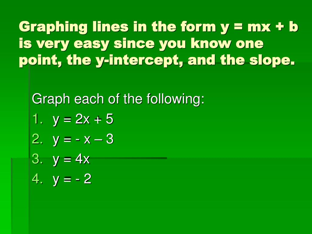 Graphing lines in the form y = mx + b is very easy since you know one point, the y-intercept, and the slope.