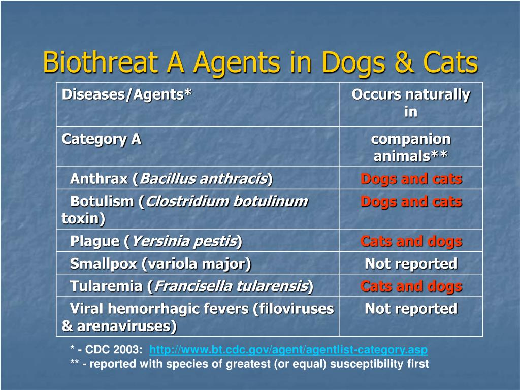 Biothreat A Agents in Dogs & Cats