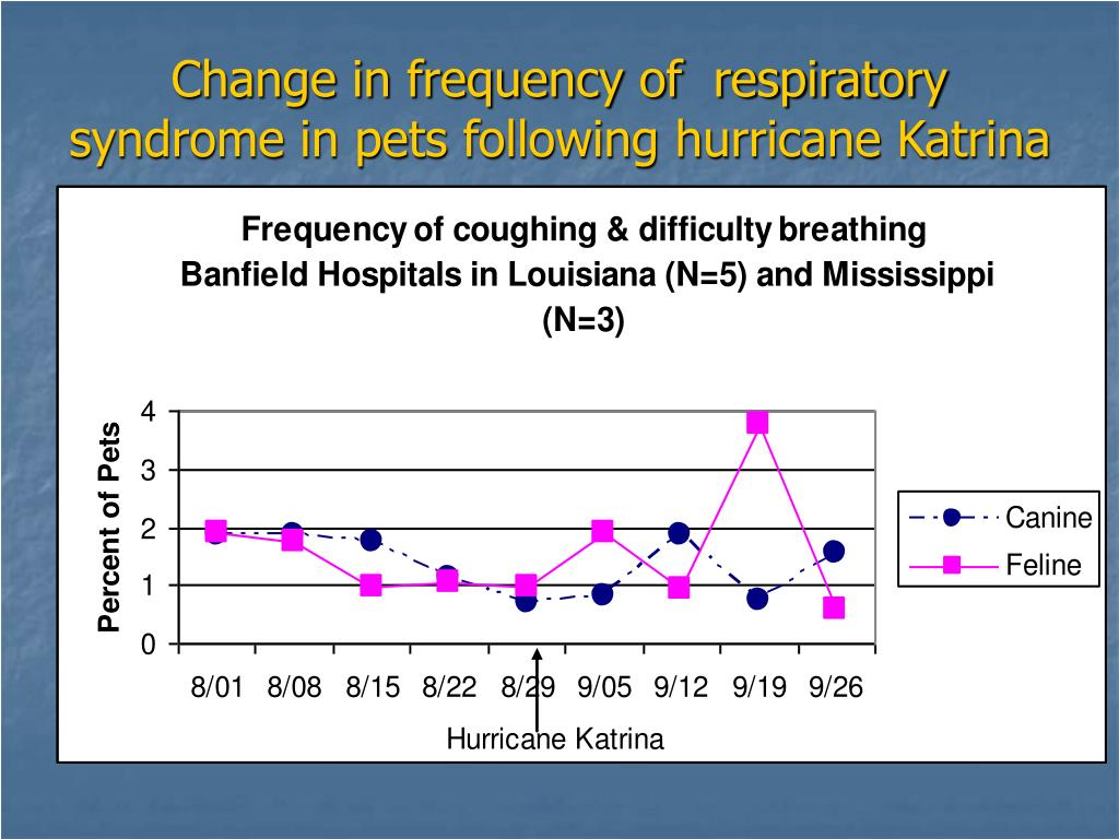 Change in frequency of  respiratory syndrome in pets following hurricane Katrina